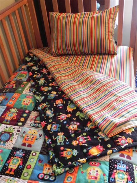 Robots Bedding And Toddlers On Pinterest Robot Crib Bedding