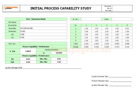 process capability study template initial process capability study format