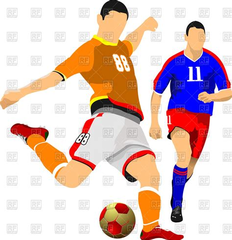 soccer player clipart two soccer players vector image vector artwork of