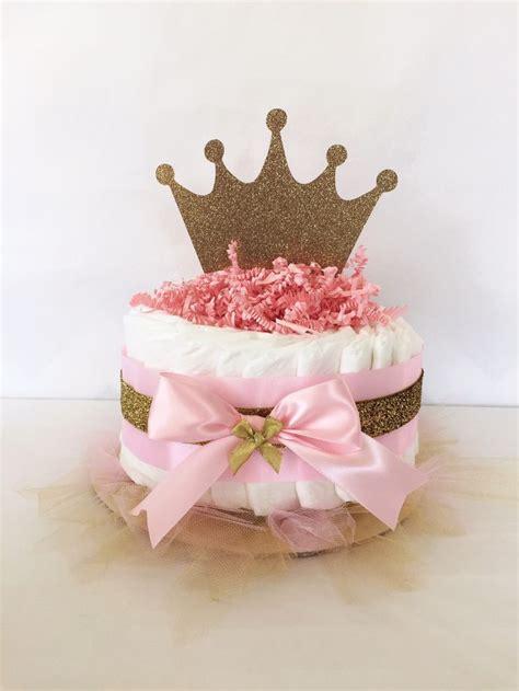 princess mini diaper cake in pink and gold princess baby
