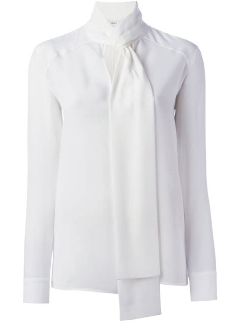 Tie Top Blouse White givenchy tie neck blouse in white lyst