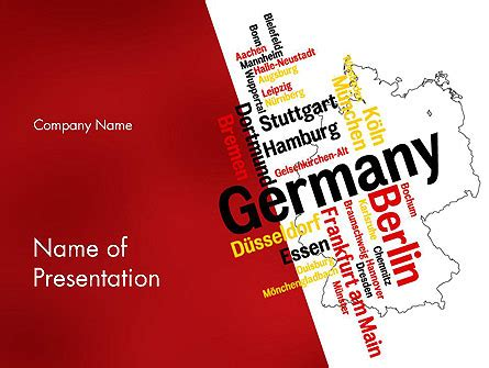 Germany Map And Cities Word Cloud Powerpoint Template Backgrounds 12177 Poweredtemplate Com Germany Powerpoint Template
