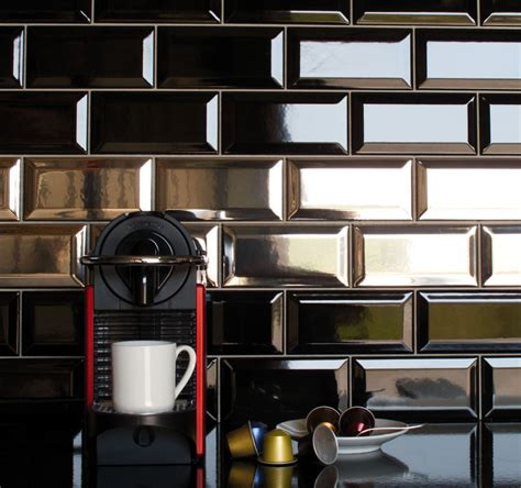 tile kitchen wall gloss black metro victorian style bevelled brick kitchen