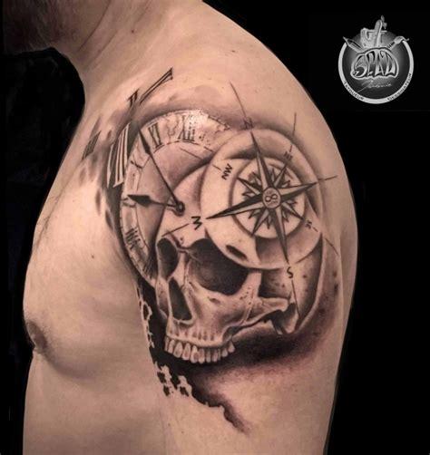 skull et boussole tatouage style divers par j 233 r 233 mie spad