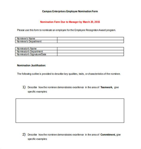 award nomination form template   word  documents   premium templates