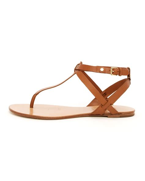 michael sandals kors by michael kors flat sandal in brown luggage lyst