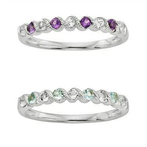 stackable birthstone rings for each child white gold