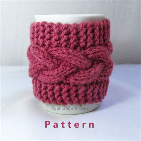 knitted mug cosy free pattern cabled cup cozy knitting pattern coffee mug pattern pdf n