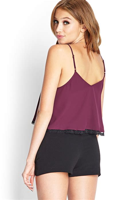 cropped lace camisole lyst forever 21 lace trimmed cropped cami in purple