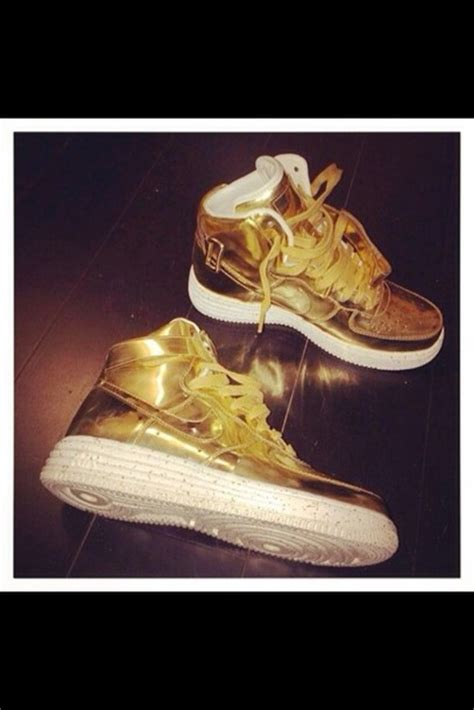 gold athletic shoes shoes nike air 1 nike nike air nike sneakers