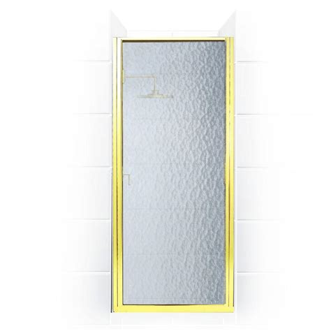 Hinged Glass Shower Doors Coastal Shower Doors Paragon Series 31 In X 69 In Framed Continuous Hinged Shower Door In Gold