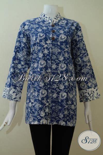 Baju Batik Muslim Biru baju batik atasan warna biru lengan panjang 7 8 til