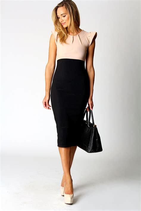2 In 1 Dress boohoo ruth contrast top 2 in 1 cap sleeve knee length bodycon midi dress ebay