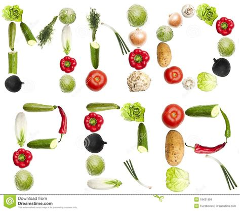 vegetables 3 letters letters made of vegetables royalty free stock images