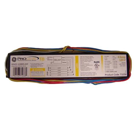 Ballast On Light Fixture Ge 120 Volt Electronic Ballast For 4 Ft 4 L T8 Fixture 93885 The Home Depot