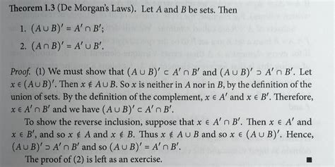 elementary set theory when is elementary set theory de s laws proof