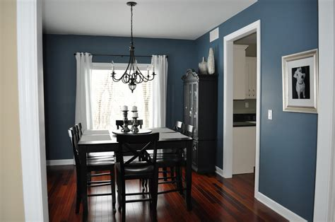 Blue Dining Room | dining room air force blue wall paint with white line