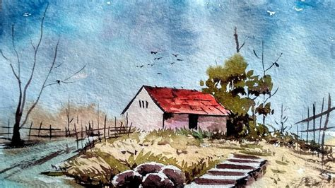 tutorial watercolor landscape watercolor painting for beginners village house