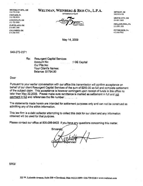 Debt Settlement Agreement Letter Sle Arman Info