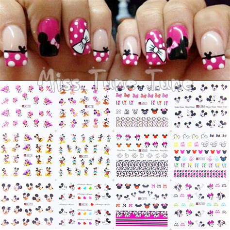 Nail Water Sticker 12 Pcs 1 1pcs 12 sheets lot large nail water transfer water decal stickers tips mickey minnie