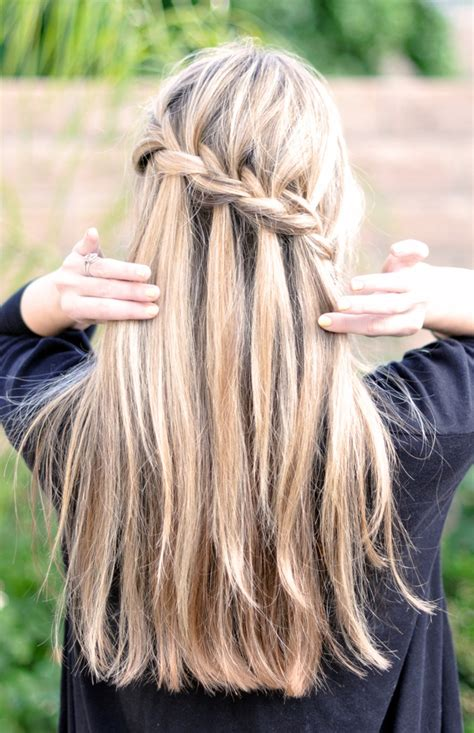 tutorial waterfall braid waterfall braid tutorial romantic hair pinterest