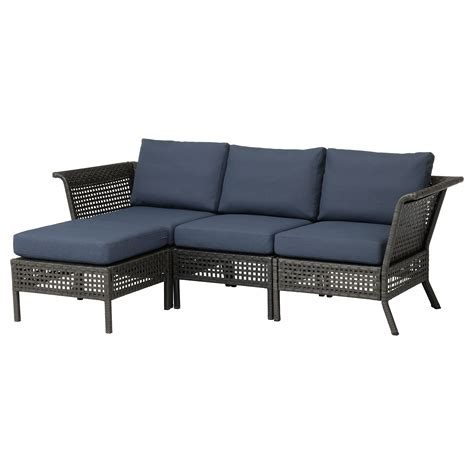 outdoor sofa ikea kungsholmen 3 seat sofa with footstool outdoor black