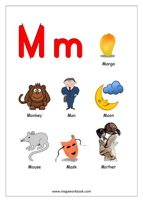 words of alphabet m mustaches and monkey free alphabet objects starting with alphabet m png 992 215 1403 letter m