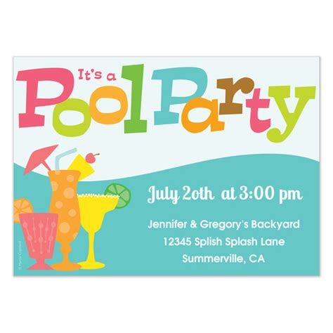 pool invitation card template pool invitations cards on pingg