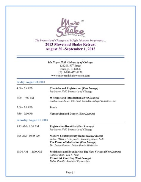 Schedule Move And Shake Women Work Life Balance Retreat Move And Shake Women Retreat Schedule Template