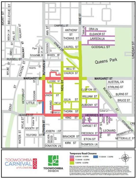 printable map toowoomba your guide for carnival of flowers road closures chronicle