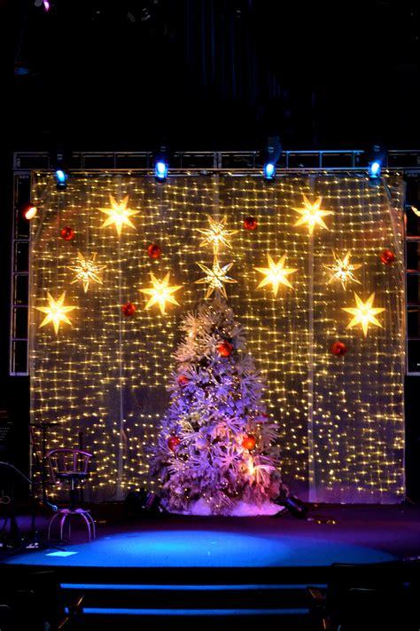 shimmering christmas lights shining shimmering splendid church stage design ideas
