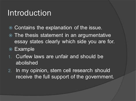 stem cell research thesis statement argumentative essay ppt