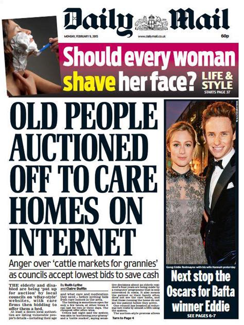 daily mail front page quot auctioned to care