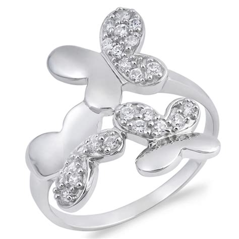 sterling silver s butterfly clear cz ring promise
