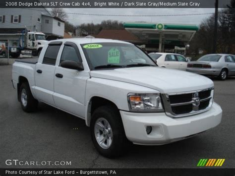 2008 dodge dakota slt crew cab 4x4 in bright silver metallic 519104 nysportscars com cars bright white 2008 dodge dakota slt crew cab 4x4 dark slate gray medium slate gray interior