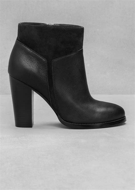 black pattern leather shoes other stories suede pattern leather boots in black lyst