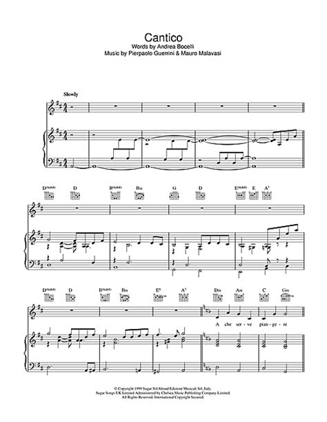 Cantico sheet music by Andrea Bocelli (Piano, Vocal