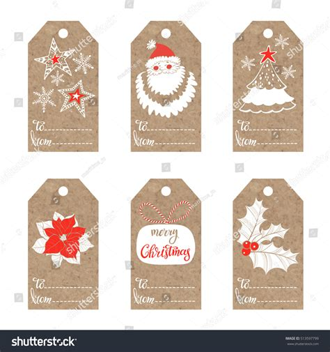 printable kraft paper tags collection kraft paper tags christmas motifs stock vector