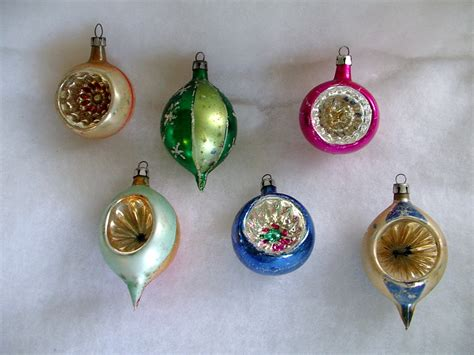 six glass vintage christmas ornaments poland indents teardrop