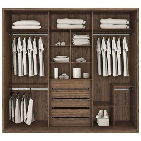 manhattan comfort bellevue 3 door wardrobe in chocolate