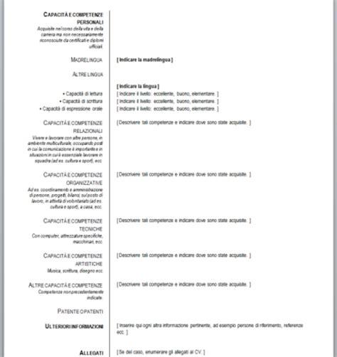Curriculum Vitae Italiano by Curriculum Vitae Europeo Da Compilare Download Gratis