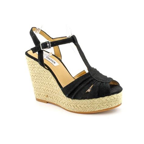 Womens Sandals Size 7 Steve Madden by Steve Madden Mammbow Womens Size 7 5 Black Peep Toe Suede Wedge Sandals Shoes Top Fashion Web