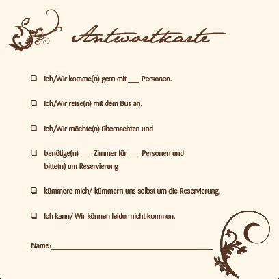 Hochzeitseinladung Antwortkarte by Antwortkarten Braune Ranken