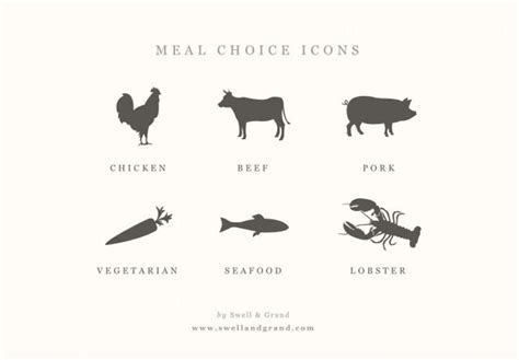 Einladung Digital Meal Choice Icons 2458361 Weddbook Rsvp With Meal Choice Template