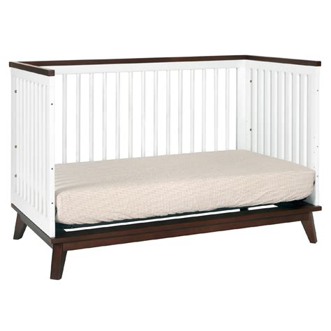 crib white convertible white and walnut scoot convertible crib by babyletto