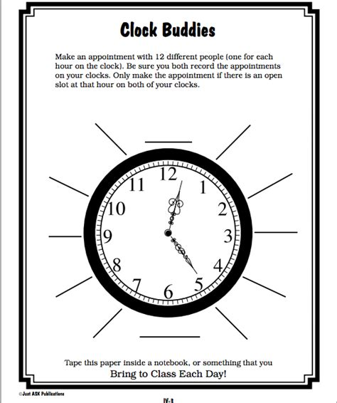 printable clock partners implementing effective differentiated instruction math