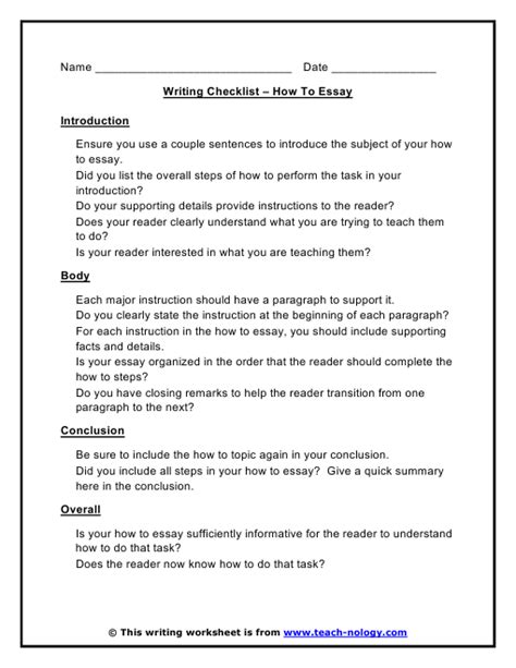 How To Write A Creative Essay by How To Essay Writing Checklist