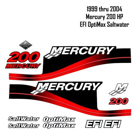 mercury boat engine decals product 1999 2004 mercury 200hp red decals efi optimax