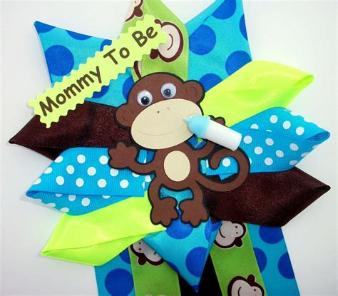 monkey baby shower corsage baby boy ready to ship