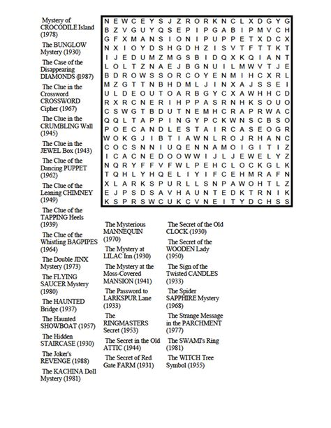 Search Book Nancy Drew Book Titles Word Search Millie Mack S